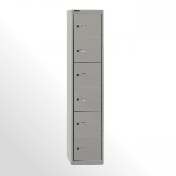 Bisley Schließfachschrank Office, 1 Abteil, 6 Fächer, T 305 mm