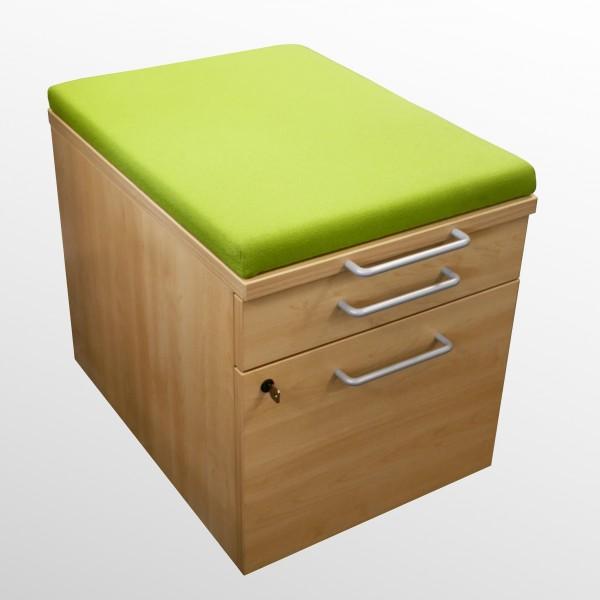 Gebrauchter Steelcase Rollcontainer mit Sitzpolster - Stoff hellgrün