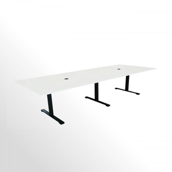 Besprechungs- und Konferenztisch - 3200x1200 mm - weiß/schwarz