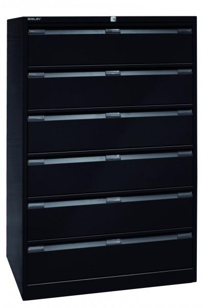 Bisley Karteischrank, dreibahnig DIN A5, 6 Schubladen, Farbe schwarz