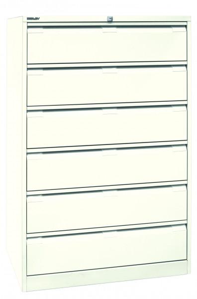 Bisley Karteischrank, dreibahnig DIN A5, 6 Schubladen, Farbe reinweiß