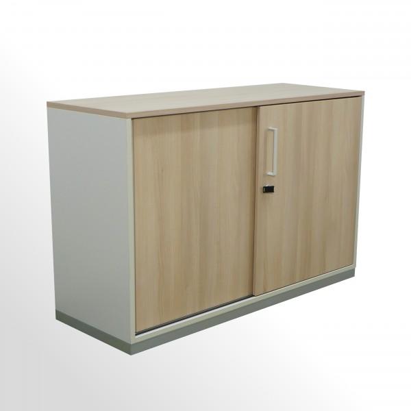 Gebrauchter Steelcase Schiebetürenschrank - Aktenschrank - 2 Ordnerhöhen - Akazie Dekor