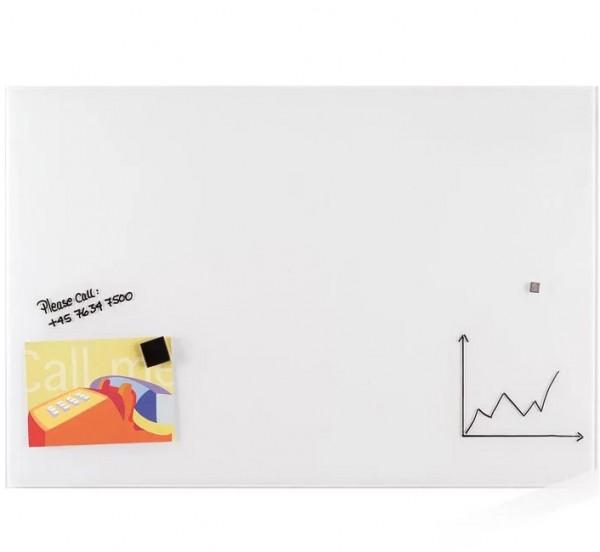 Günstige magnethaftende Design-Glastafel - Reinweiss - B 2000 x H 1200 mm