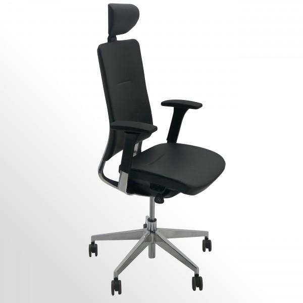 Premium-Bürodrehstuhl mit Kopfstütze - Leder schwarz