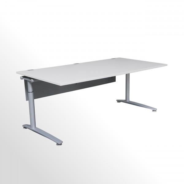 Gebrauchter König+Neurath Schreibtisch mit Fußraumblende - grau-weiß - B 2000 x T 1000 mm