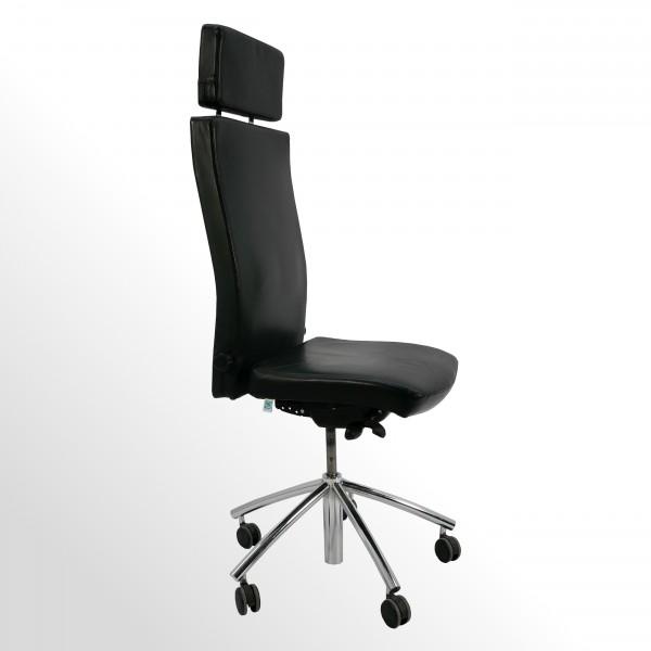 Gebrauchter Quo Sideo Chefsessel - Bürodrehstuhl ohne Armlehnen - Leder schwarz