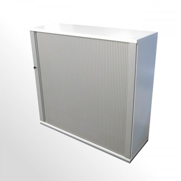 Gebrauchter, günstiger König+Neurath Rollladenschrank - 3 Ordnerhöhen - weiß/aluminiumfarben