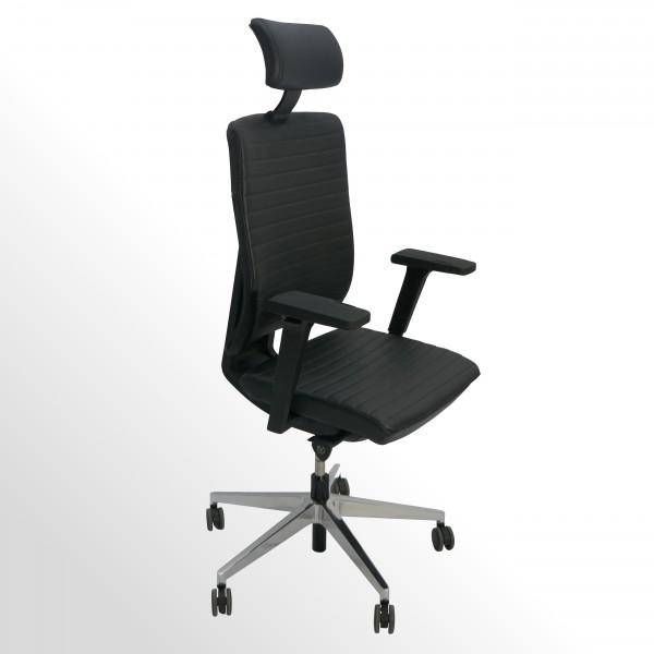 Hochwertiger Design-Bürodrehstuhl mit gestepptem Lederbezug und Kopfstütze