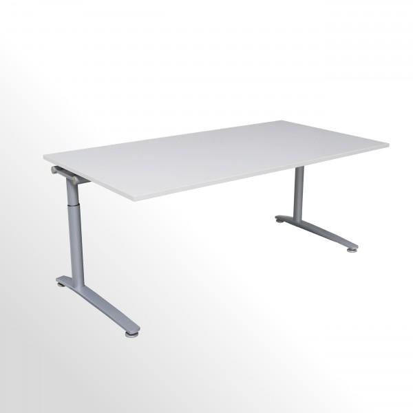 Gebrauchter König+Neurath Schreibtisch - grau-weiß - B 2000 x T 1000 mm