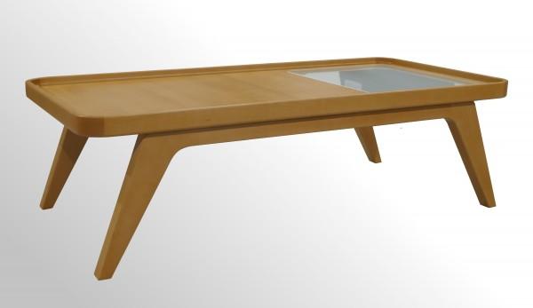 Günstiger Echtholz Beistelltisch - Loungetisch mit Milchglasplatte