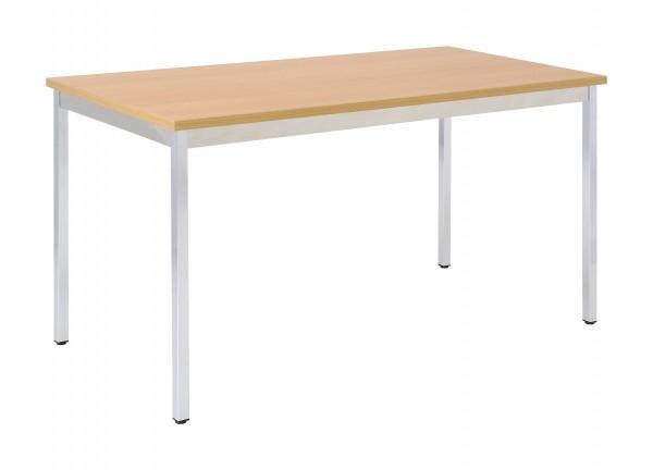 Bisley Mehrzwecktisch, rechteckig, Gestell verchromt, Tischplatte 25 mm, buche; 1400x700