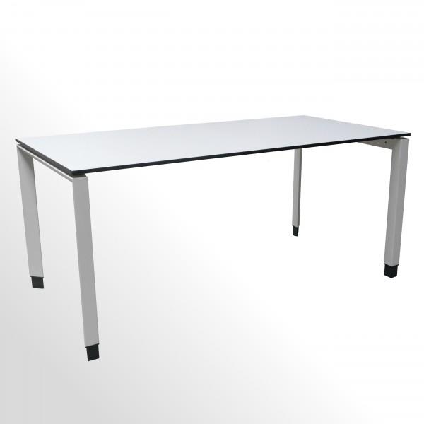 Gebrauchter Steelcase Schreibtisch | 1600 x 800 mm | Platte weiß mit schwarzer Kante