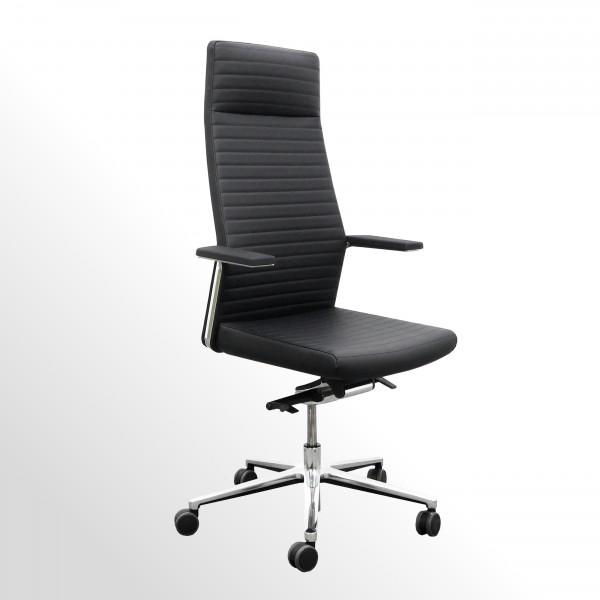 Hochwertiger Chefsessel - Bürodrehstuhl mit Lederbezug und Innensteppung