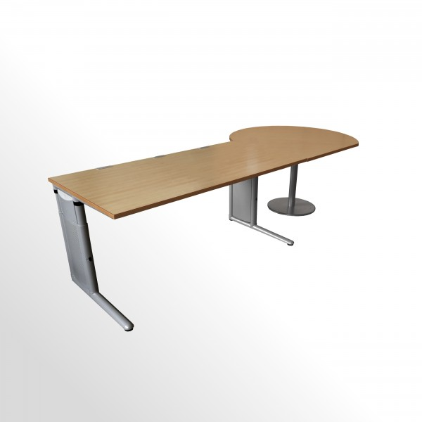 Günstiger, gebrauchter Werndl Schreibtisch mit Besprechungsanbau - Ahorn Dekor