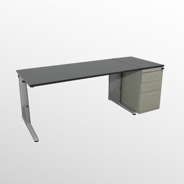 Schreibtisch-Standcontainer-Set - mit neuer Arbeitsplatte - Softschwarz - 1600x800 mm