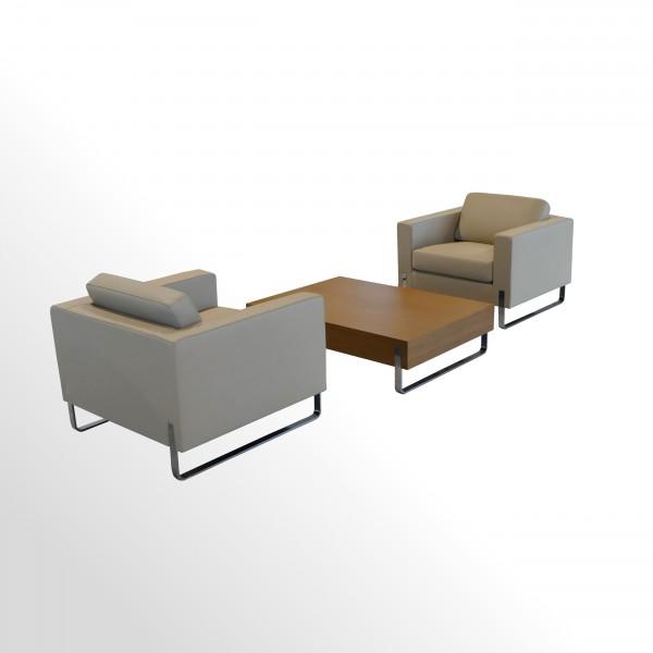 Loungesessel-Set incl. Beistelltisch für den Wartebereich - Premium-Leder/Eiche hell