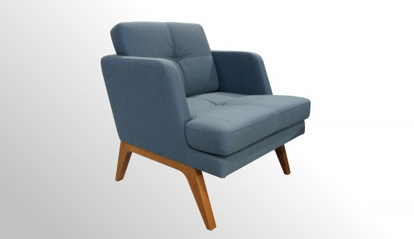 Hochwertiges Sesselelement - Stoff blau mit nachhaltigem Echtholz-Gestell