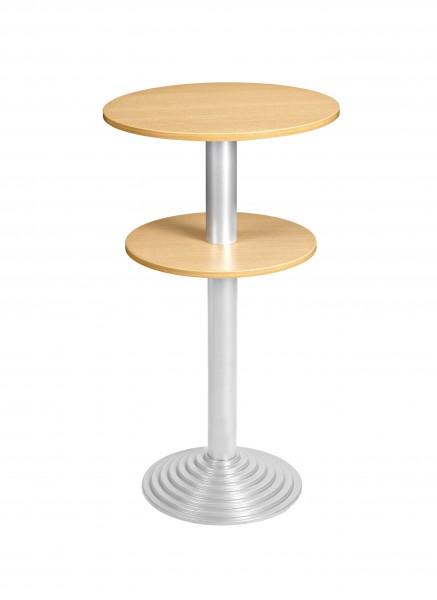 Bisley Stehtisch, rund, 2 Platten, Tischplatte 38 mm, Dekor: Buche|Gestell: Aluminium; Ø 600 mm