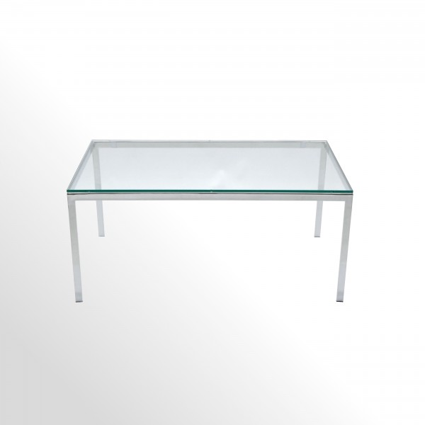 Hochwertiger Loungetisch - Beistelltisch mit Klarglasplatte und Chrom-Gestell