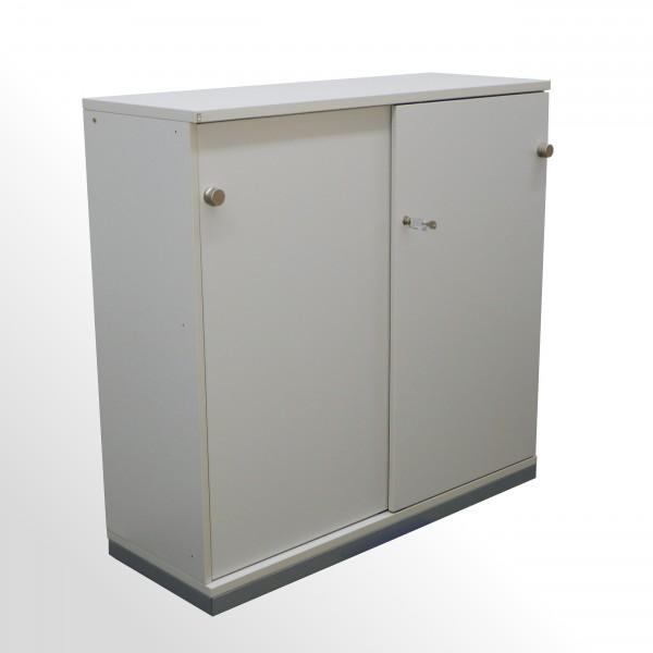 Gebrauchter FM Büromöbel Schiebetürenschrank - Aktenschrank - 3 Ordnerhöhen - grau