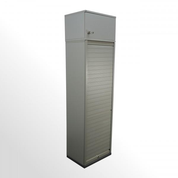 Gebrauchter Rollladenschrank mit Vertikalrolllade und Aufsatzelement - Grau