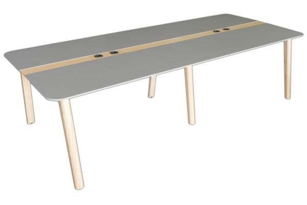 Günstiger Besprechungs- und Konferenztisch - Perlgrau/Esche natur - 2800 x 1200 mm