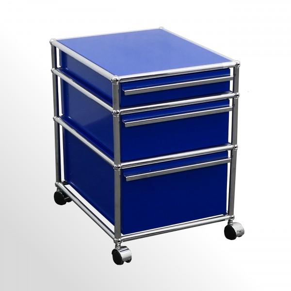 Gebrauchter USM Haller Rollcontainer - Stahlblau - 3x Schublade