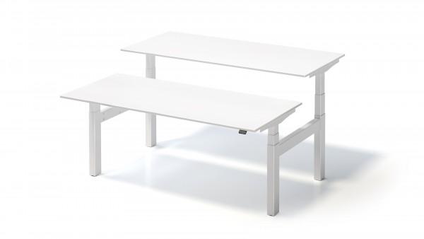 Bisley Varia Doppelarbeitsplatz, 650-1250 mm elektr. höhenverstellbar, je Tisch 1800 x 800 mm, weiß