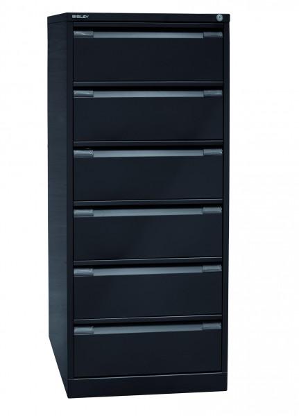 Bisley Karteischrank, doppelbahnig DIN A5, 6 Schubladen, Farbe schwarz