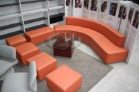 Couchgarnitur - Sessel - Hocker inkl. Beistelltisch Kunstleder - Orange