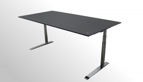 Günstiger elektrisch höhenverstellbarer Design-Arbeitstisch - Linoleum schwarz