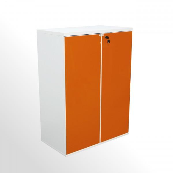 Flügeltürenschrank - Aktenschrank - 3 Ordnerhöhen - B 800 mm - mit Hochglanzfront - weiß-orange