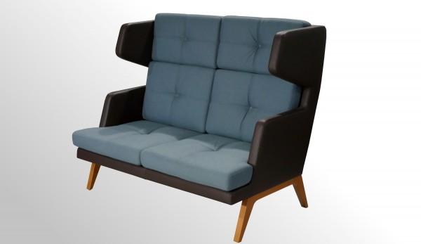 Sitzsofa - Loungesessel mit hoher Rückenlehne - Stoff blau - Leder dunkelbraun