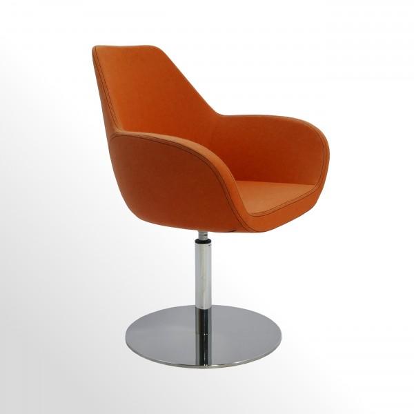 Günstiger Besucher- und Loungesessel mit Design-Tellerfuß - Stoff orange