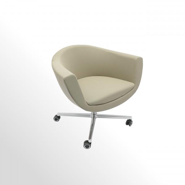 Günstiger Besucherstuhl auf Designrollen - Stoff beige