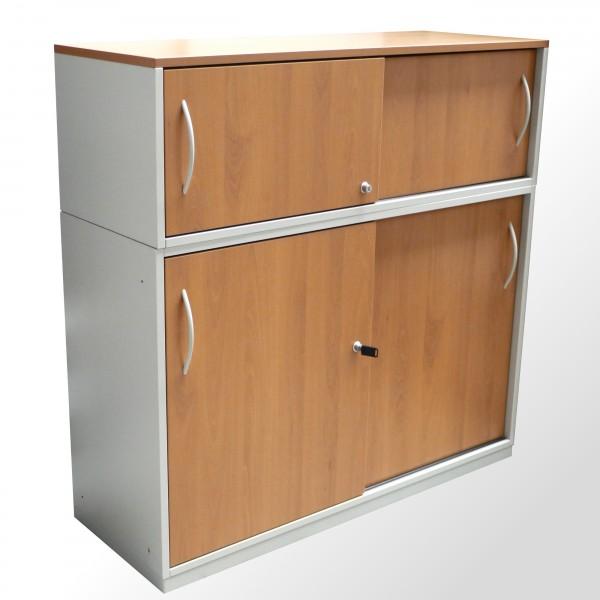 Gebrauchter Steelcase Schiebetürenschrank - Aktenschrank - Buche Dekor - 3 OH