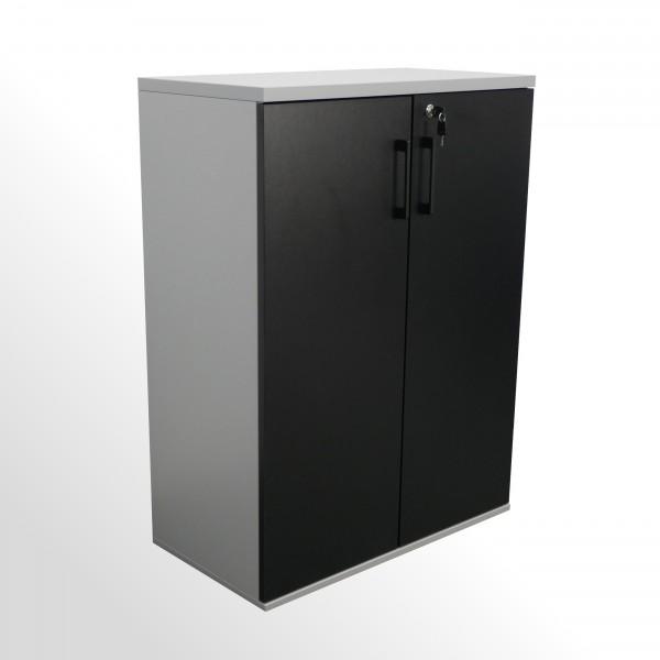 Flügeltürenschrank - Aktenschrank - 3 Ordnerhöhen - B 800 mm - aluminium-schwarz