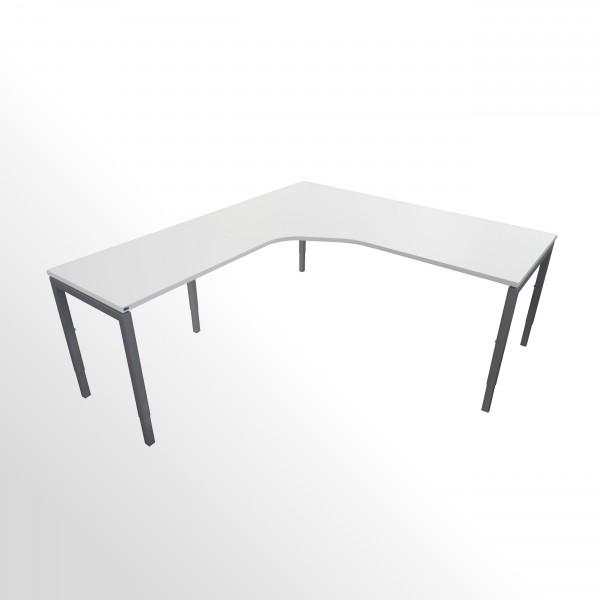 Günstige Schreibtisch-Winkelkombination - Eckschreibtisch - Weiß - Anbautisch links