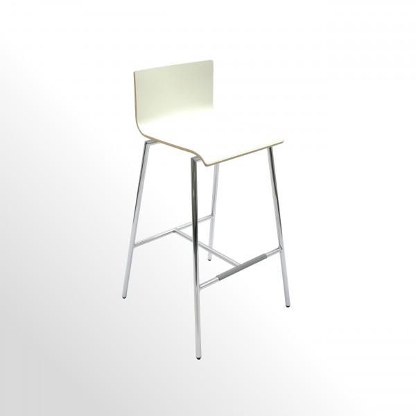 Günstiger Barhocker - Barstuhl - Sitzschale: Laminatbeschichtet - Premiumweiß