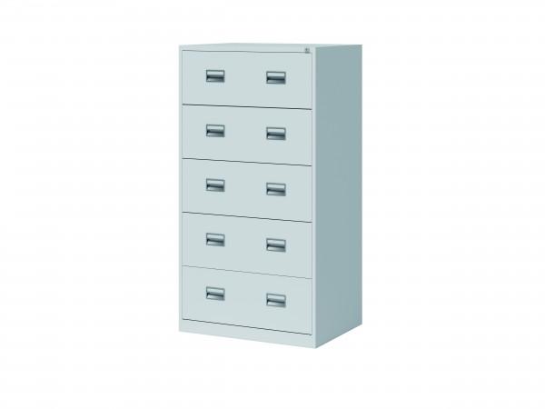 Bisley Hängeregistraturschrank ECO, doppelbahnig, DIN A4, 5 HR-Schubladen, Farbe lichtgrau