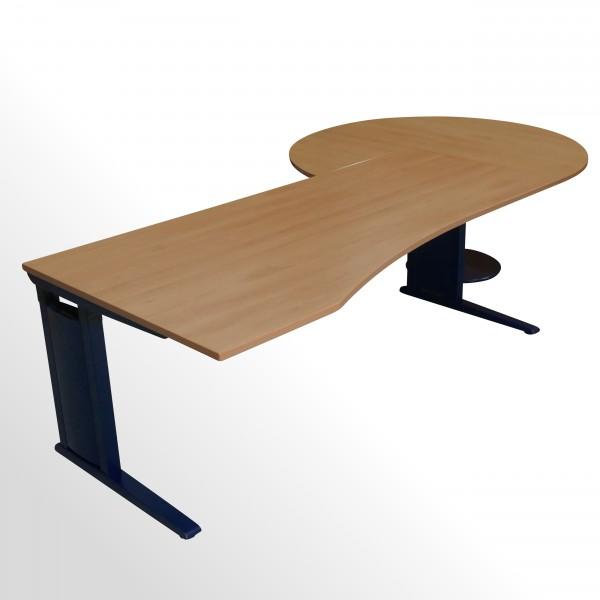 Gebrauchter Werndl Schreibtisch mit Besprechungsanbau - Buche Dekor