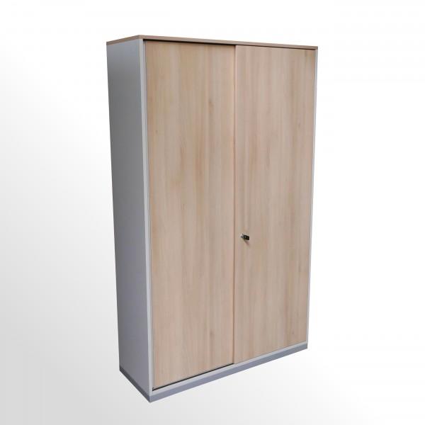Gebrauchter Steelcase Schiebetürenschrank - Aktenschrank - 5 Ordnerhöhen - Akazie Dekor