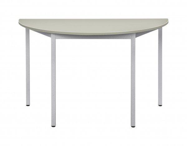 Bisley Mehrzwecktisch, halbrund, Gestell verchromt, Tischplatte 25 mm, grau; 1400x700