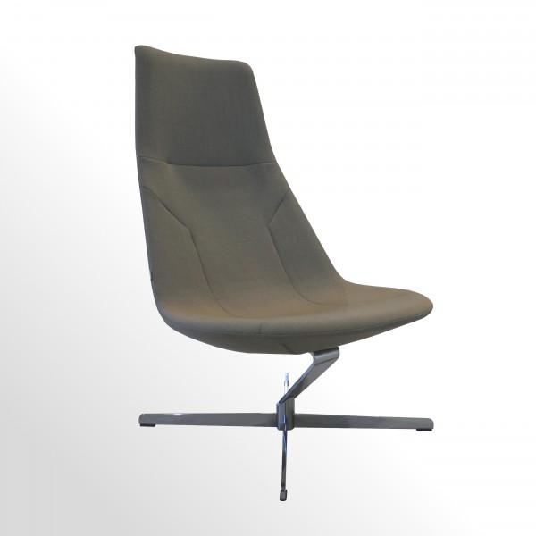 Hochwertiger Design-Loungesessel - Stoff beige