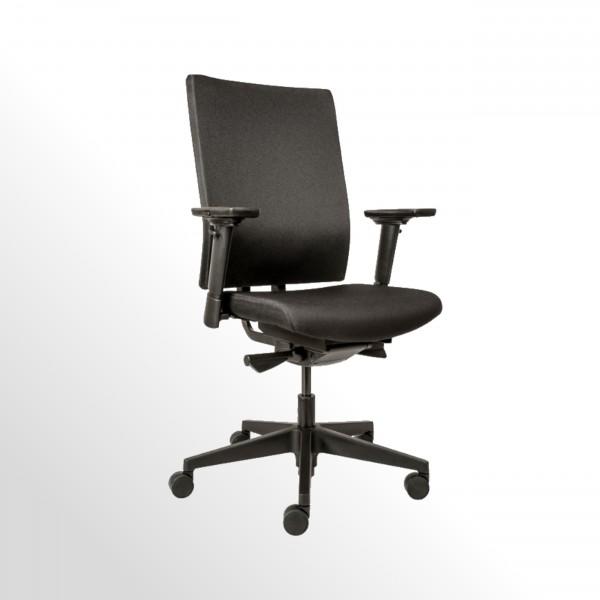 Günstiger Bürodrehstuhl mit Armlehnen und gepolstertem Komfortsitz - Stoff schwarz