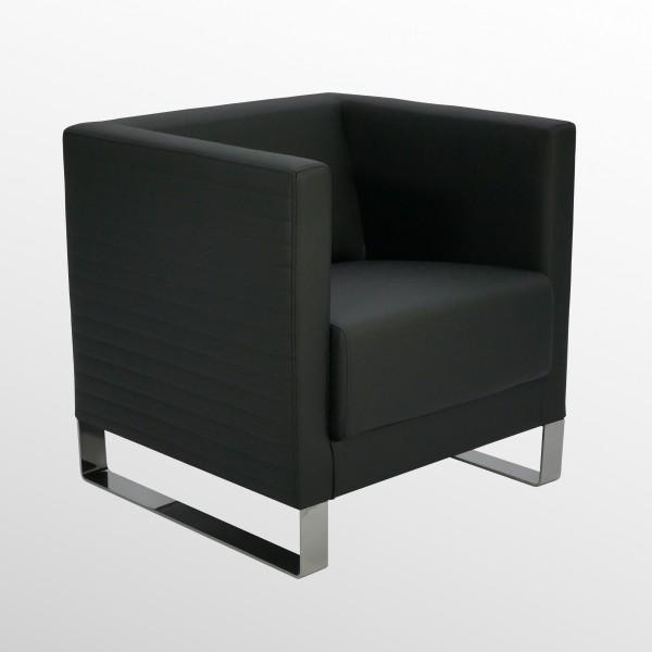 Günstiger Design-Loungesessel - Sessel mit Kunstlederbezug und Außensteppung
