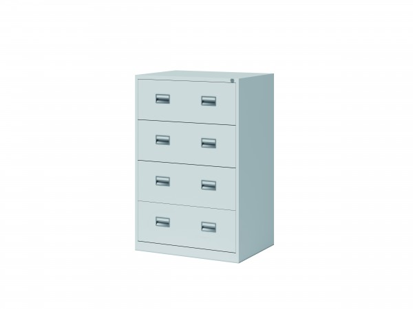 Bisley Hängeregistraturschrank ECO, doppelbahnig, DIN A4, 4 HR-Schubladen, Farbe lichtgrau