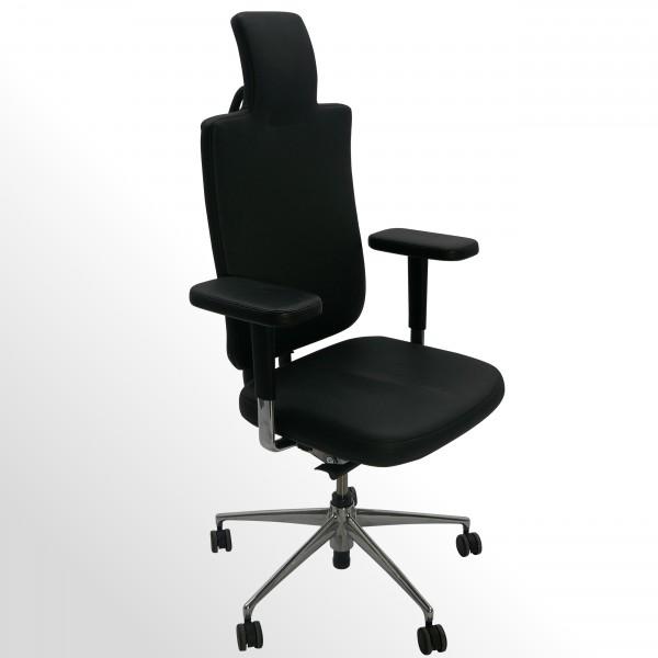 Gebrauchter Vitra HeadLine Premium-Bürodrehstuhl - Leder schwarz