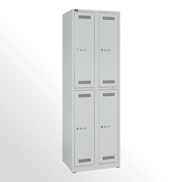 Bisley Garderobenschrank LIGHT, 2 Abteile 300 à 2 Fächer, Farbe lichtgrau