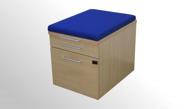 Gebrauchter Steelcase Rollcontainer mit Sitzpolster - Stoff blau
